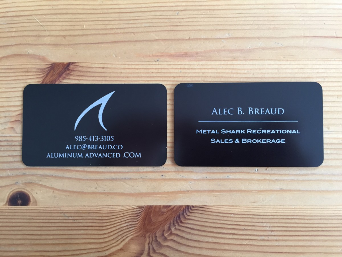 Studio eQ -- Thick Black Laser-Etched Metal Business Cards