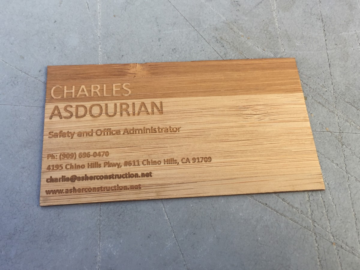 Studio Eq 500 Laser Etched Wood Business Cards In