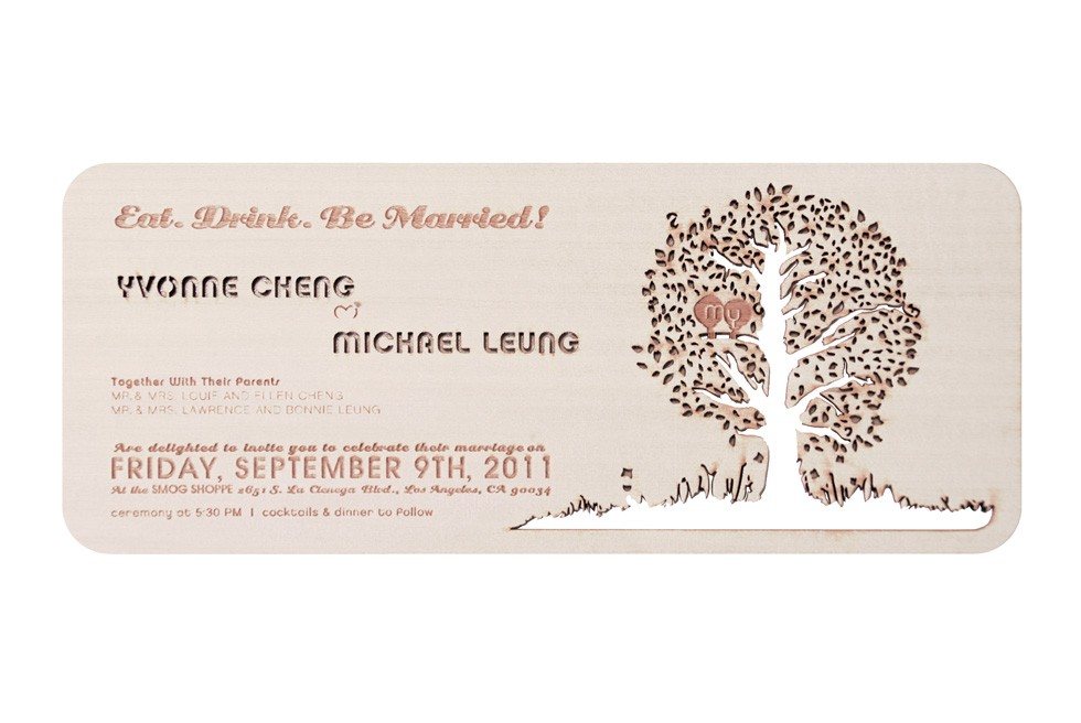 Wood Wedding Invitations - Laser-Etched