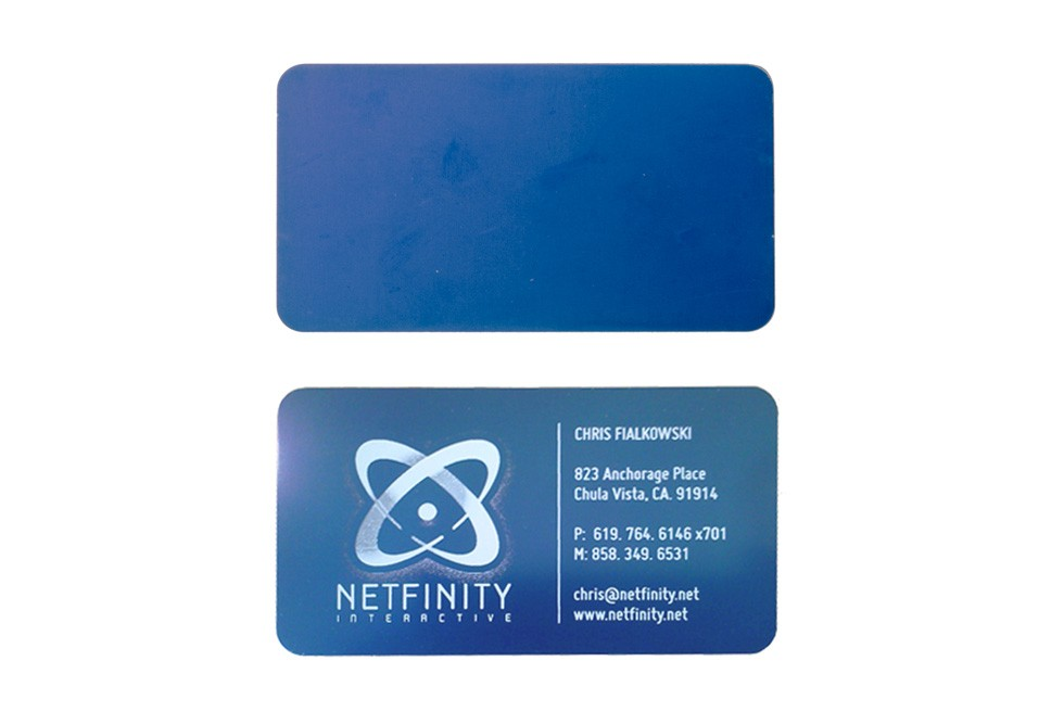 Studio eq 50 laser etched thin blue metal business cards 50 blue metal business cards reheart Choice Image