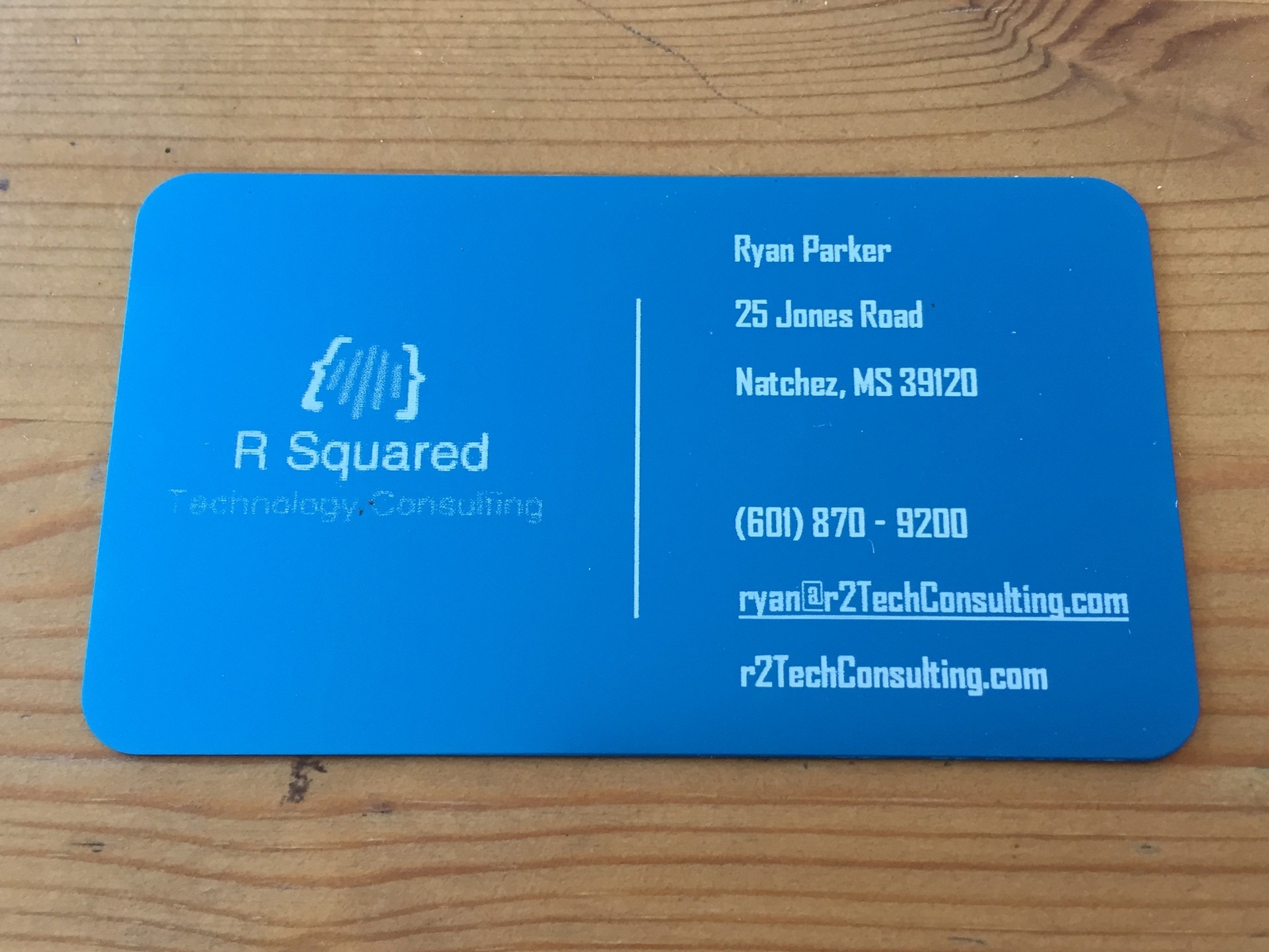 Studio eQ -- Thick Blue Laser-Etched Metal Business Cards