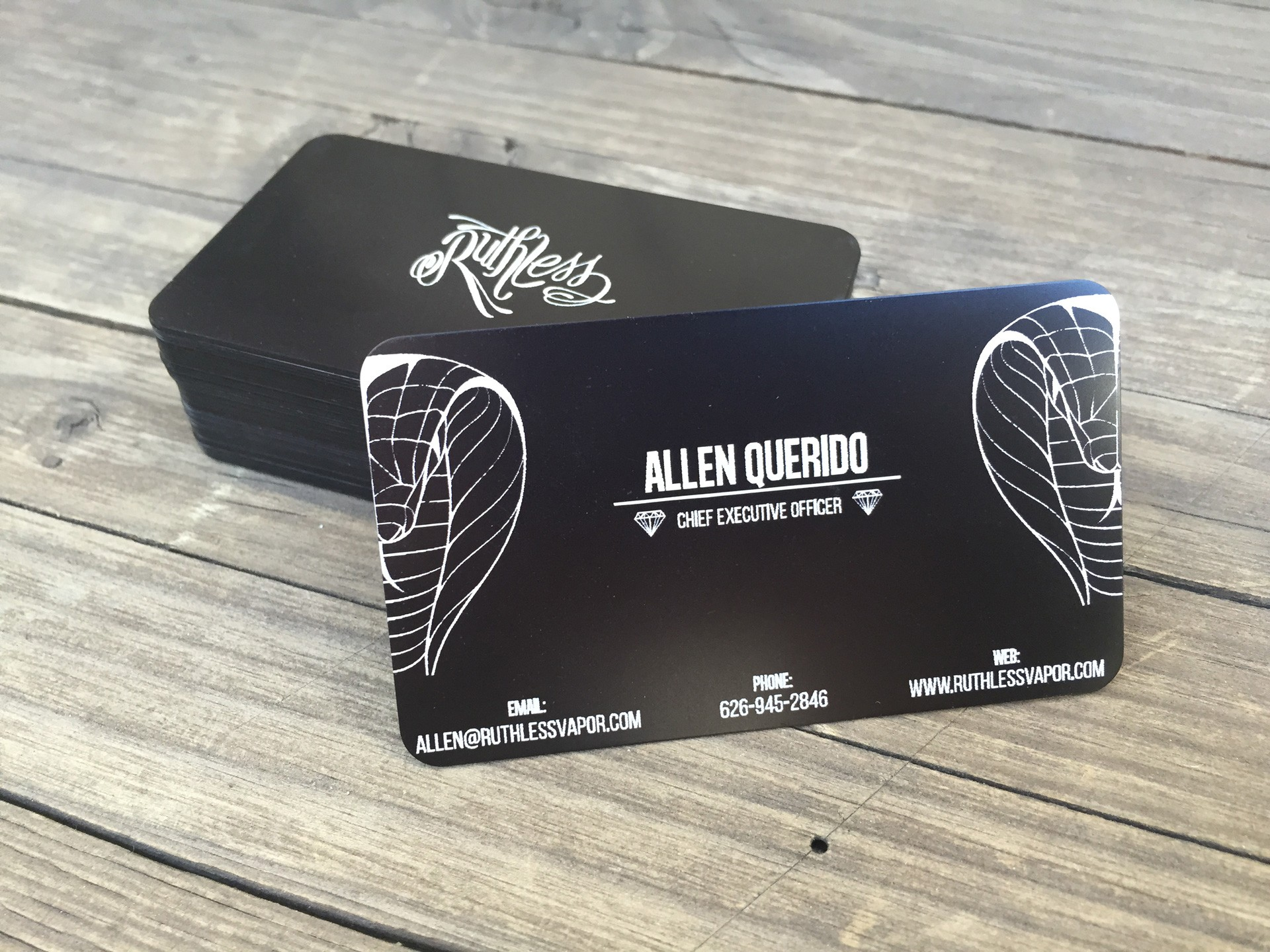 Studio eQ -- 50 Custom Laser-Etched Thin Black Metal Business Cards