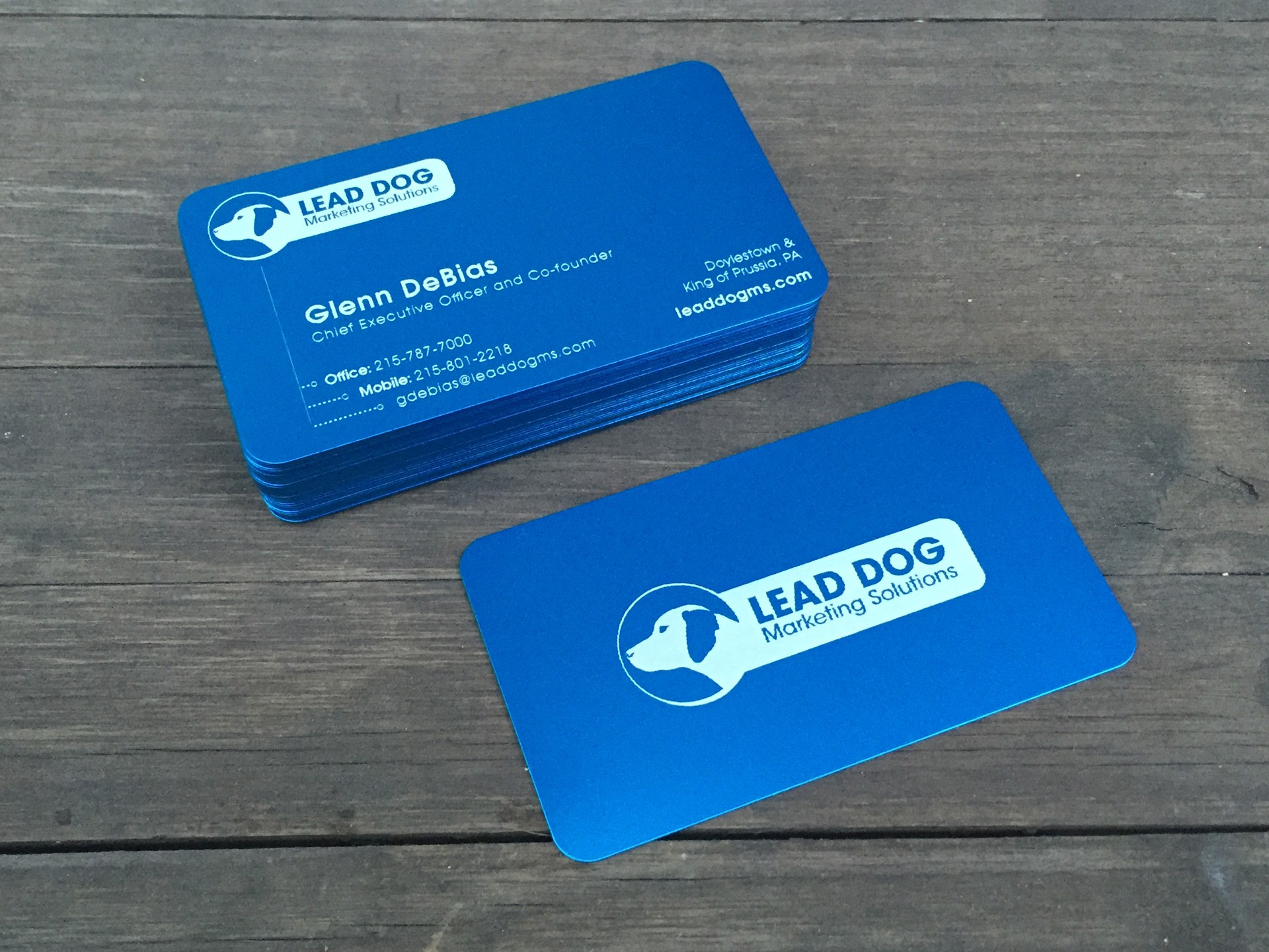Studio eQ Thick Blue Laser Etched Metal Business Cards