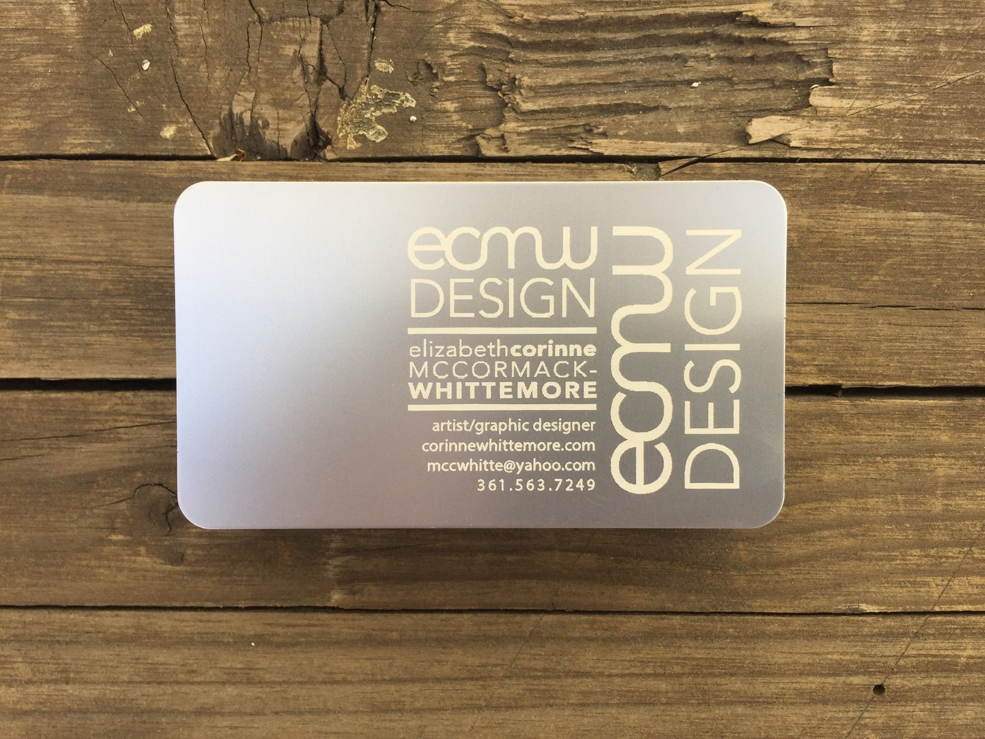 Studio eQ -- 100 Laser-Etched Thin Silver Metal Business Cards