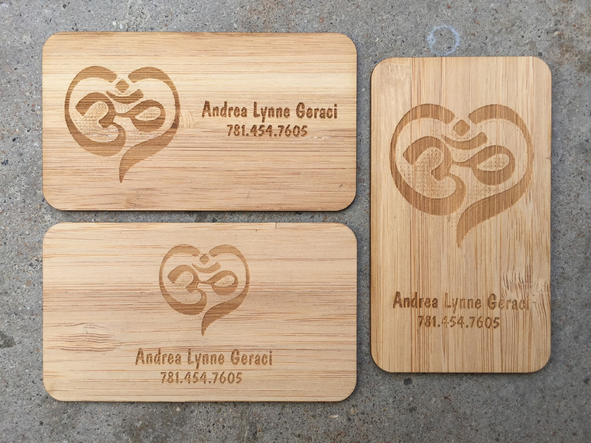 studio eq 500 laser etched wood business cards in bamboo veneer