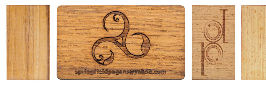 laser-cut teak business cards