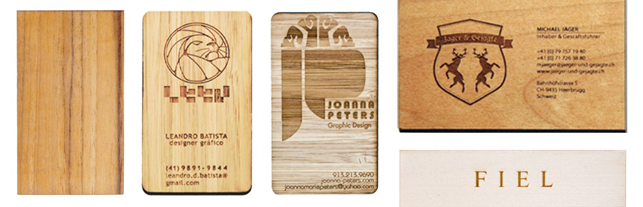 laser-cut plywood business cards