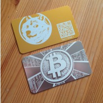 Dogecoin Crypto Card - Goldish/Yellow Anodized Aluminum Card